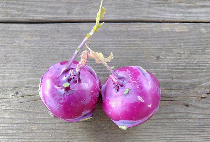 コールラビには表面が紫色の品種もあります。